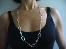 Collana lunga cm 80 in argento 925 maglie ovali lisce e godronate