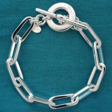 Bracciale in argento 925 MASSICCIO 31 grammi. Maglia allungata 21x8,5mm, filo sezione quadrata co...