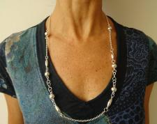 Long sterling silver necklace 70 cm