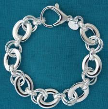 Bracciale in argento 925 massiccio, larghezza 13mm. Maglie ovali piatte, maglie tonde, maglie god...