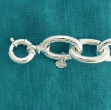 Sterling silver long oval link bracelet