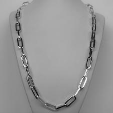 Collana uomo argento 925 massiccio, maglia allungata 8,5mm, filo sezione quadrata grande. Lunghez...