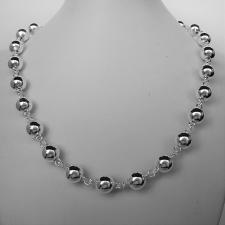 Sterling silver beaded chain necklace 10mm