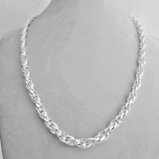 Collana artigianale in argento 925 MASSICCIO maglia ovale doppia, SCALARE GRADUATA 7-5mm.