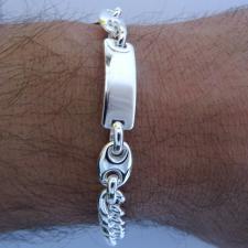 Bracciale uomo in argento 925 - piastra e catena grumetta