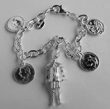 Bracciale ciondoli Pinocchio e monete in argento