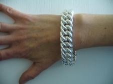 Double curb bracelet in sterling silver