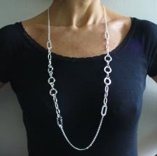 Long sterling silver necklace, round & rectangular  link chain 90 cm.