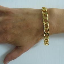 Diamond cut curb bracelet in sterling silver with 18 kt gold plating