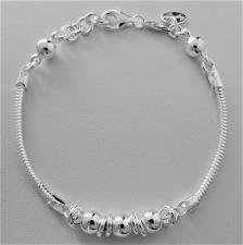 Bracciale in argento 925, catena snake e sfere.