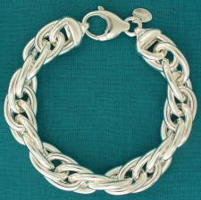 Handmade sterling silver bracelet. Double oval link 13,5mm.