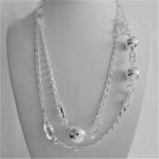 Sterling silver necklace. Cheval chain and beads. Length: 100 cm.