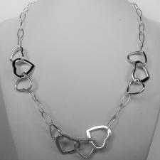 Sterling silver heart link chain necklace