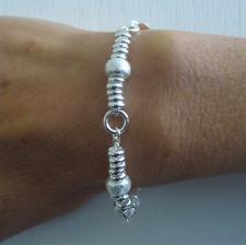 Sterling silver bracelet. Textured ''barilotto'' link 8mm.