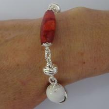 Sterling silver bracelet with white agate & natural madrepore