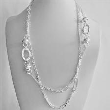Collana in argento 925 catena maglia marinara alternata da maglie ovali godronate e componenti ad...