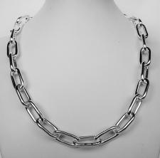 Sterling silver rectangular link necklace 10mm. Hollow chain.