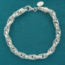 Bracciale artigianale in argento 925 MASSICCIO maglia ovale doppia. Larghezza 6,2mm.