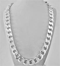 Collana uomo grumetta in argento 925 massiccio, diamantata 2 lati. Larghezza 12mm. Lunghezza 60 c...