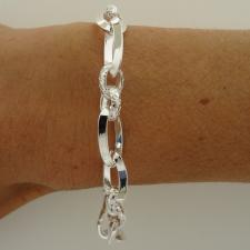 Sterling silver textured link bracelet 9mm. Made in Italy.