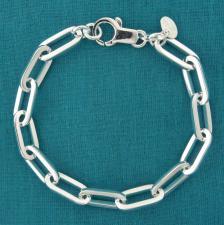 Sterling silver rectangular link bracelet 7.2mm.