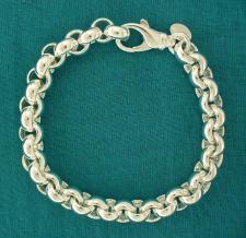 Sterling silver round rolo link bracelet. Silver belcher bracelet.
