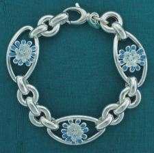 Sterling silver enamel flower bracelet. Blue-Light blue.