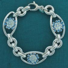 Bracciale argento 925 fiori smaltati. Blu e celeste.