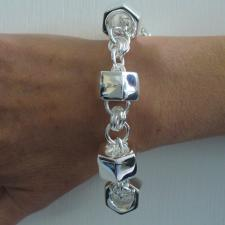 Sterling silver bracelet. Women's hexagon ''Barilotto'' link 20mm.
