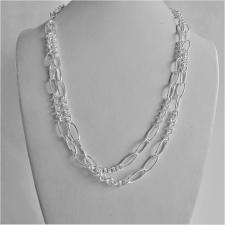 Long sterling silver necklace cm 100 round & oval link chain
