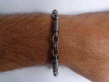 Oxidized 925 sterling silver men's bracelet