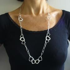 Long sterling silver necklace, heart link chain 80 cm.