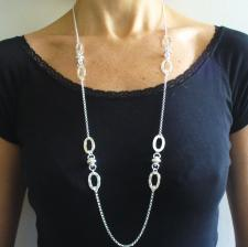 Long sterling silver necklace, round chain, textured oval link & ''Ufo'' 90 cm.