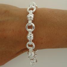 925 solid silver link bracelet italy