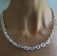 Solid 925 silver square link necklace