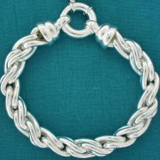 Handmade sterling silver torchon link bracelet
