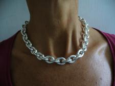 925 silver oval link necklace