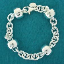 Sterling silver bracelet. Women's ''Barilotto'' link chain 14mm.