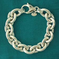 Sterling silver oval link bracelet 14mm. Hollow chain.