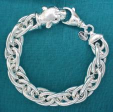 Women's sterling silver panther bracelet. Double oval link chain.