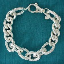 Bracciale grumetta fantasia 13mm in argento 925 - Bracciale donna grumetta argento