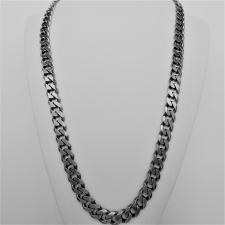 OXIDIZED sterling silver solid diamond cut curb necklace 10mm x 3mm. LENGTH 60 CM.