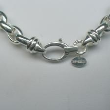 Oval belcher necklace in sterling silver