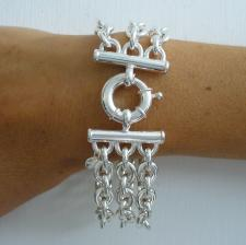 Sterling silver triple chain bracelet