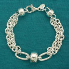 Sterling silver bracelet Barilotto link chain 14mm.