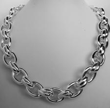 Women's 925 Italy silver necklace. Oval & double oval link chain 16mm.