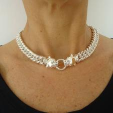 925 silver double panther necklace