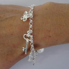 Silver charm bracelet made in Italy
