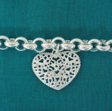 Bracciale argento catena tonda e ciondolo a cuore