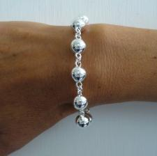 Women's sterling silver beaded chain bracelet 10mm.